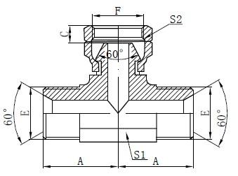 BSP Drawing Hydraulic Tee
