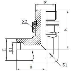 Adaptor Hydraulic Elbow Drawing